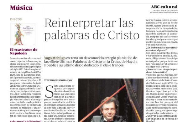 Entrevista a Yago Mahúgo en el ABC Cultural